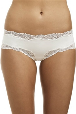 Ivory microfibre french hipster brief trimmed with lace