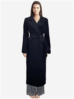 Soft and luxurious long sleeve pure wool robe with tie around the waist