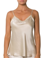 A beautiful cream premium quality silk cami that drapes over the figure gracefully featuring adjustable straps and a flattering v-shaped neckline