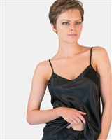 A beautiful black premium quality silk cami that drapes over the figure gracefully featuring adjustable straps and a flattering v-shaped neckline