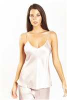 A beautiful pink premium quality silk cami that drapes over the figure gracefully featuring adjustable straps and a flattering v-shaped neckline