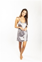 Beautiful silk chemise that sits above the knee with thin adjustable straps and flattering v-shaped  neckline.