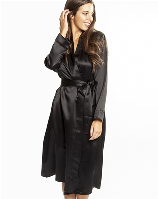This beautiful black silk robe features a wrap-around style that falls below knee length