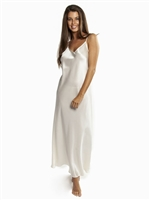 A beautiful premium quality silk slip that drapes over the figure gracefully featuring adjustable straps, a flattering v-shaped neckline and is floor length