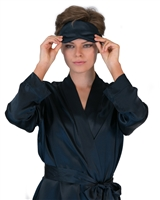 A beautiful premium quality silk sleep mask made with pure silk inner and silk outer fabric in a gorgeous navy colour
