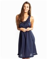Navy cotton and silk blend nightdress with a scoop neckline, wide shoulder straps and ruffles at the hem