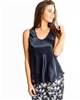 Beautiful navy premium quality silk camisole featuring a scoop neck and thick straps
