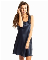Beautiful navy premium quality silk nightdress featuring a scoop neck and thick straps