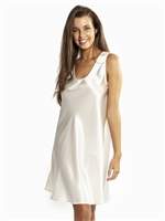 Premium silk cream sleeveless nightdress with thick wide shoulder straps that sits just above the knees