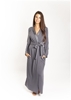 Grey full length french terry wrap around robe with tie