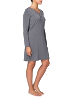Grey long sleeve nightdress featuring a straight cut, v-neck & finished with lace trim at the neckline