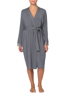 Grey long-sleeved modal wrap-around style robe falling below knee-length and trimmed in floral lace applique
