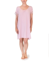 Pink Premium Modal Nightdress with a scoop neck and short lace trimmed sleeves
