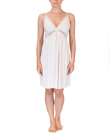 Cream premium modal short nightdress featuring a modal lined lace bust line that is flattering on all shapes, revealing a hint of skin through the lace both under the bust and back