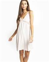 Pale pink soft premium modal short nightdress featuring a modal lined lace bust line that is flattering on all shapes
