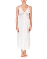 Cream soft premium modal long nightdress featuring a modal lined lace bust line that is flattering on all shapes