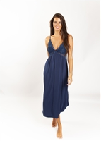 Indigo soft premium modal long nightdress featuring a modal lined lace bust line that is flattering on all shapes