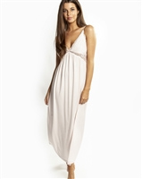 Pale pink soft premium modal long nightdress featuring a modal lined lace bust line that is flattering on all shapes