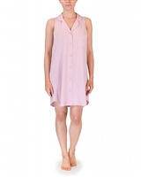 Pink modal sleeveless nightdress falling right to the mid-thigh with buttons all the way through on the front and collar detail