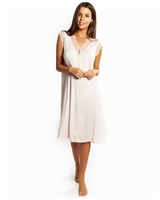Pale pink modal nightdress featuring French Leavers lace on the front with button detail. Length sits just below the knee.