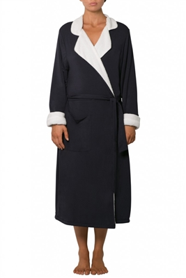 Navy Sherpa Robe with a snuggly fleece lining featuring a tailored lapel and tie around sash. Sits below the knees.