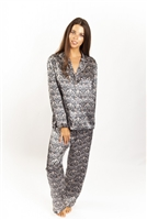 Beautiful Liberty print silk pj set with long sleeves, buttons at front and a collared neckline