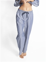 Long Cotton Blue PJ Pant with tie at waist.