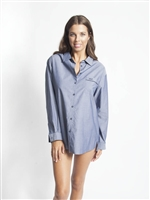 Blue cotton long sleeve PJ Top with button up front, embroidered logo and collar.