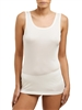 Ivory Silk Jersey tank top with wide shoulders and sits below the waist