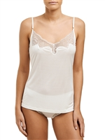 Ivory Silk Jersey camisole with adjustable shoulder straps and lace detail on the neckline