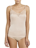 Blush Silk Jersey camisole with adjustable shoulder straps and lace detail on the neckline