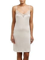 Ivory Silk Jersey slip with adjustable shoulder straps and lace detail on the neckline.