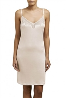 Blush Silk Jersey slip with adjustable shoulder straps and lace detail on the neckline.