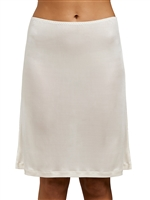Ivory silk jersey half slip that sits above the knees and is light and seamless and soft around the waist.