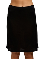 Black silk jersey half slip that sits above the knees and is light and seamless and soft around the waist.