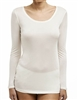 Ivory long sleeve silk jersey light breathable scoop neck top