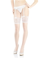 Luxurious classic style white and ivory stockings to wear with a suspender belt finished with an elegant wide lace trim