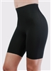 Black microfibre lightweight shaping short with no visible panty lines and sits mid thigh.