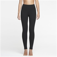 Black cotton opaque full length legging with tummy shaping panel around the waist