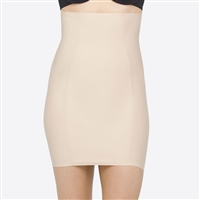 Nude High Waist Shaping Slip with Silicone-free grip tape at bottom edge and waist keeping slip in place. Sits mid thigh length.