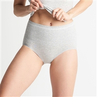Light grey breathable cotton high waist shaping everyday brief