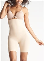 Nude high waist thigh shaper that sits under the bra and has a comfortable side-seam free construction