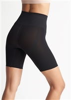 Black mid waist thigh shaper with an extra wide shaping band and a comfortable side-seam free construction