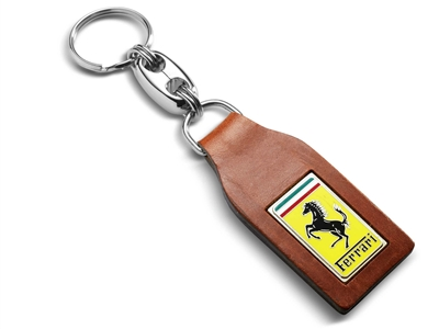 Classic Brown Leather Ferrari Keychain