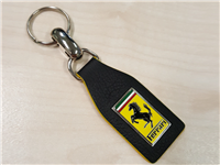 Ferrari Genuine Keyring, Black, with Yellow Edge