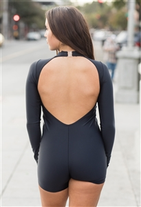 Mock Neck Long Sleeve Biketard (Shiny Lycra)