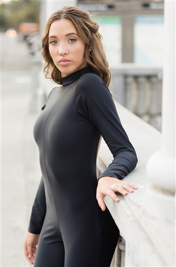 Mock Neck Long Sleeve Unitard (Velvet)
