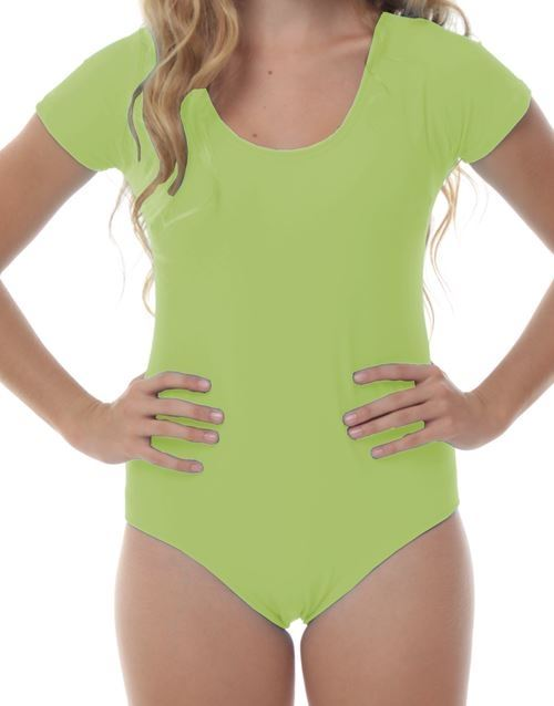 Lycra Short Sleeve Leotard with Gathered Front in Jade Green Various Sizes