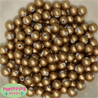 10mm Matte Gold Faux Pearl Beads