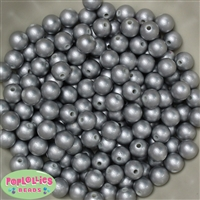 10mm Matte Silver Faux Pearl Beads sold in packages of 50 beads